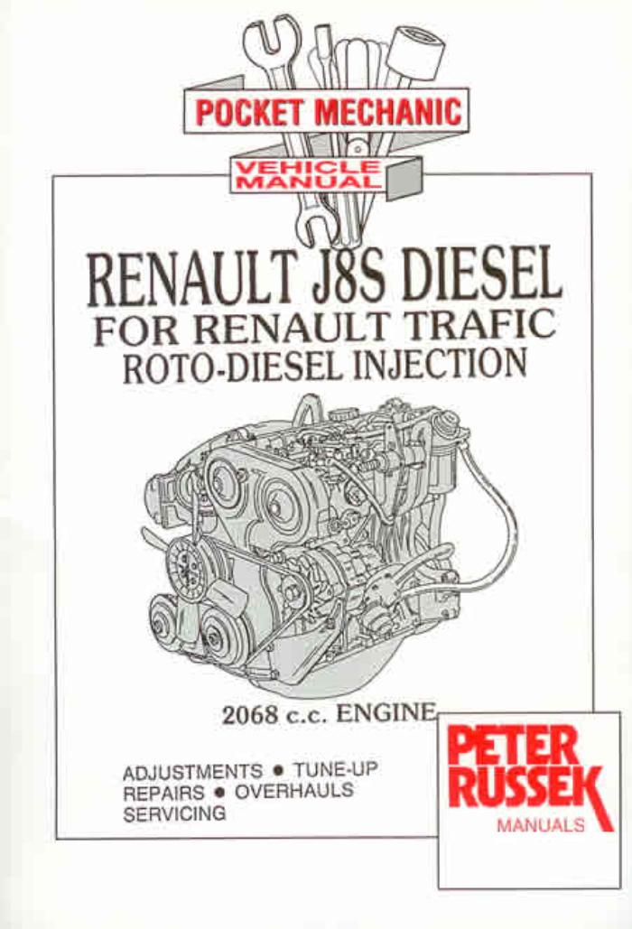 renault trafic j8s 852 diesel engine workshop manual roto