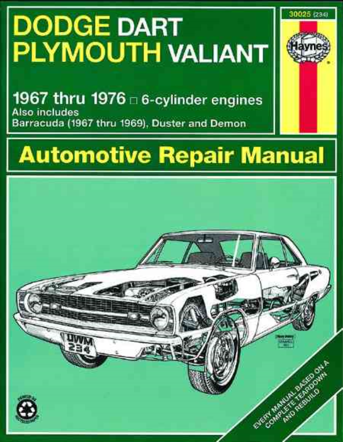 Haynes workshop manual dodge dart demon plymouth valiant barracuda product image publicscrutiny Choice Image