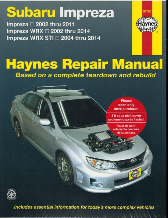 2014 subaru wrx wiring diagram haynes manual subaru impreza 02 2011 impreza wrx 02 2014 impreza  haynes manual subaru impreza 02 2011